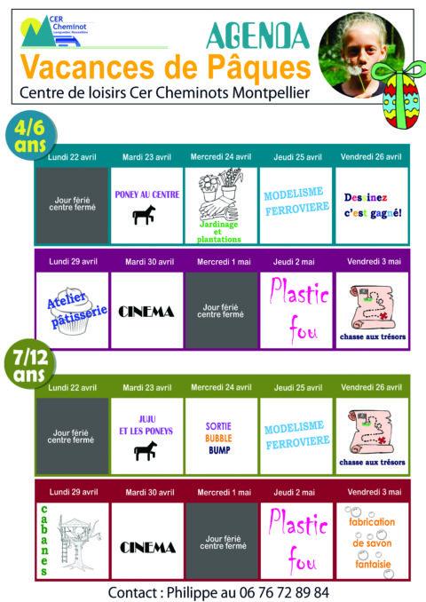 CER Cheminot  – Centre de loisirs – agenda vacances de Pâques