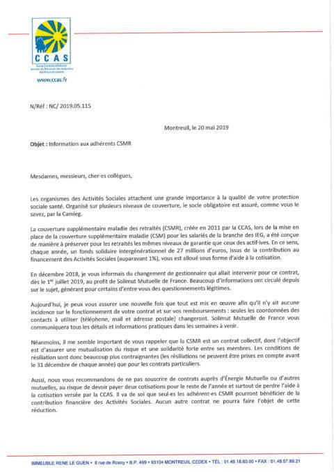 Information aux adhérents CSMR