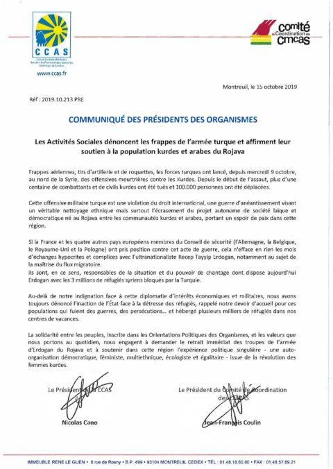 Communiqué des présidents des organismes du 15-10-19
