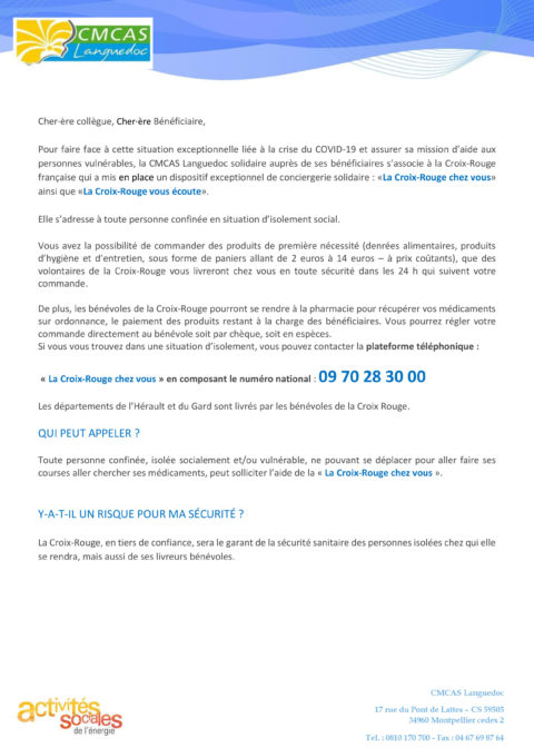 La Croix-Rouge française deux dispositifs exceptionnels, de service et de soutien